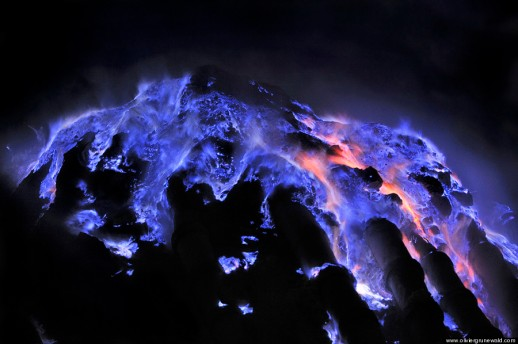 Typical blue flames of sulfuric gaz Kawah Ijen